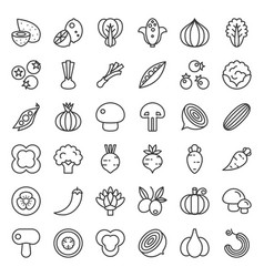 vegetable icon set 22 line style vector image
