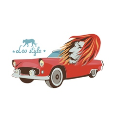 Wild cat retro car driver vector
