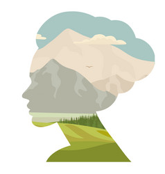 Woman and nature double exposure face silhouette vector