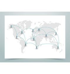 World Map Dotted With Links vector