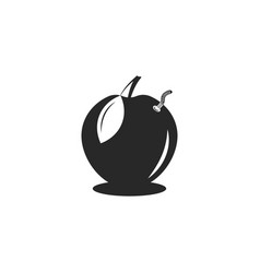 wormy apple logo in negative space style worm vector image