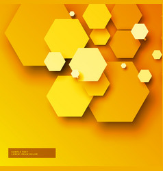 Yellow background with 3d hexagonal shapes vector