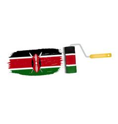 brush stroke with kenya national flag isolated on vector image