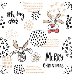 christmas seamless pattern with cute reindeer and vector image