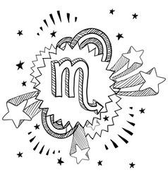 doodle pop astrology scorpio vector image vector image