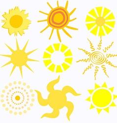 Set of Cartoon Suns vector image vector image