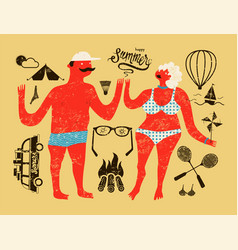 Summer retro grunge poster with cartoon couple vector