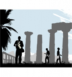 tourist with historical temple vector image