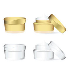 white and golden cosmetics containers vector image