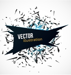 Abstract black banner with blue light explosion of vector image