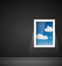 Dark room with a window vector image