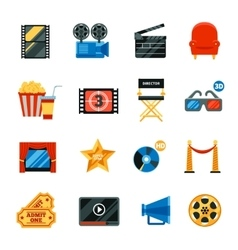 Flat Cinema Decorative Icons Set vector image