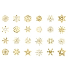 Golden snowflakes isolated vector image vector image