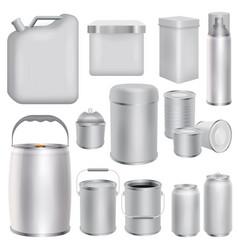 metal packaging mockup set realistic style vector image