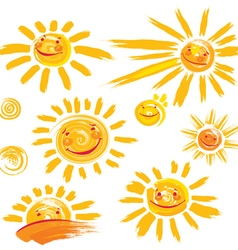 Set of hand drawn sun symbols with smile vector image