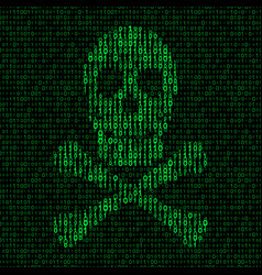 skull and crossbones with binary code vector image