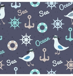 vintage pattern with seagulls anchors and vector image