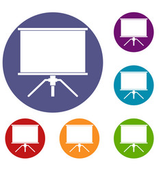 blank projection screen icons set vector image