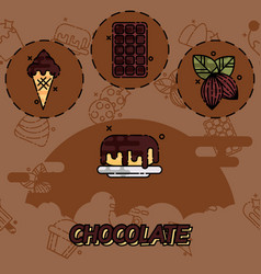 chocolate flat concept icons vector image vector image