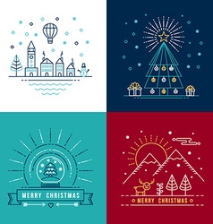 Merry christmas outline label set holiday element vector image