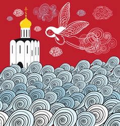 Orthodox church and the river of life vector image vector image