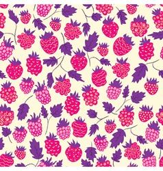 Raspberry seamless pattern vector image