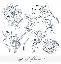 set of flowers 1 vector image