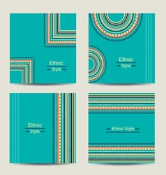 Set of turquoise cards with ethnic design vector image vector image