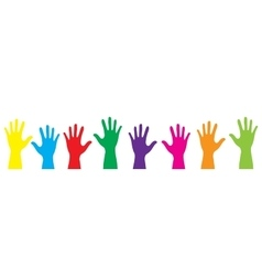 Banner color hands rise up vector image