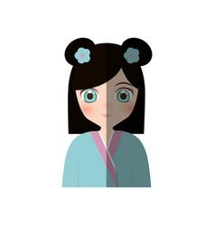 cute girl japanese manga - shadow vector image