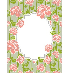 Frame rose Vintage background Old flowers pattern vector image