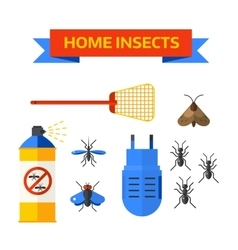 Pest control worker spraying pesticides home vector image