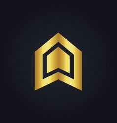 shape business construction company gold logo vector image
