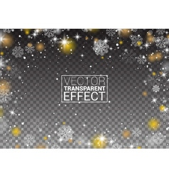 Snowflakes frame snowfall Lights on transparent vector image vector image