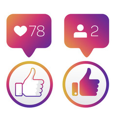 thumb up like icons like follower icons vector image