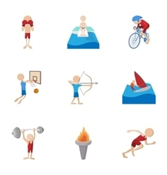 Types of professional sports icons set vector
