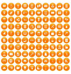 100 hotel services icons set orange vector