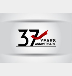 37 years anniversary design with red ribbon vector