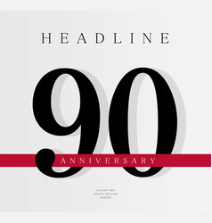 90th anniversary banner template journal cover vector