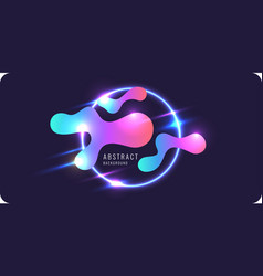 Abstract banner with neon lines on a dark vector