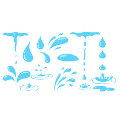 Aqua or water drops icons collection isolated vector
