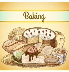 Baking pastry background template vector