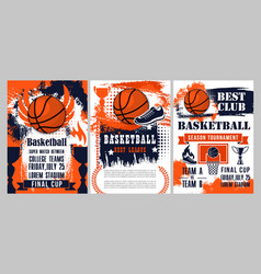 Basketball sport ball winner cup and basket hoop vector