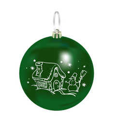 Beautiful realistic new year 3d glassy green ball vector