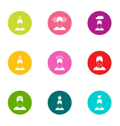 Beneficiary icons set flat style vector