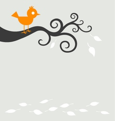 bird tree autumn vector image