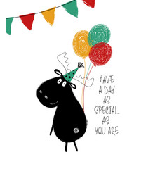 Birthday card with funny moose vector