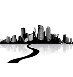 Black and white cityscape with water reflection vector image