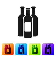 black bottles of wine icon isolated on white vector image