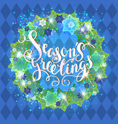 blue season wreath vector image